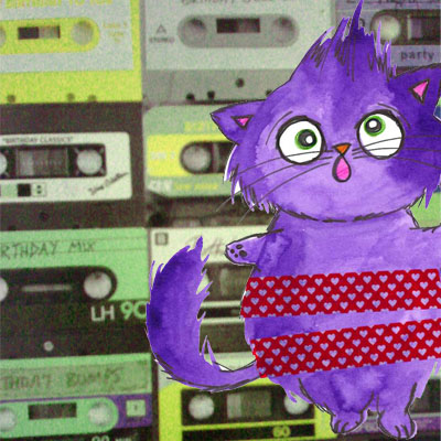 crazy cat and tapes